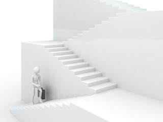 Businessman walking upstairs