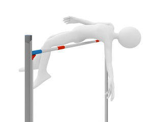 Athlete jump over barrier