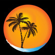 Tropical palm sun beach vector logo