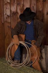 cowboy sit barrel hold rope
