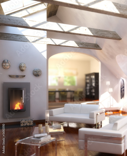 Loft designed with a fireplace (focused)