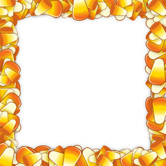Frame made of candy corn.