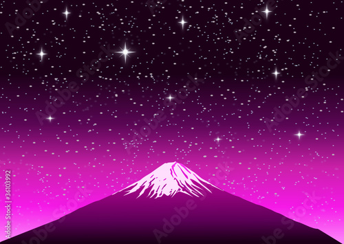 Fuji Mountain on Sunset Background