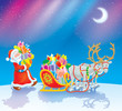 Santa loads Christmas gifts into his sleigh
