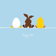 Easter Bunny, Egg & Chick Blue