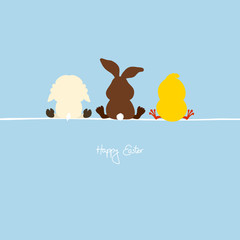 Easter Bunny, Lamb & Chick Blue