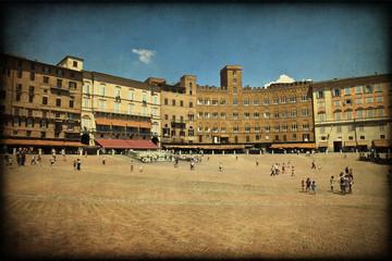 Piazza del Campo, Siena, texture retro