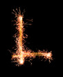 Letter L. Real sparkler alphabet