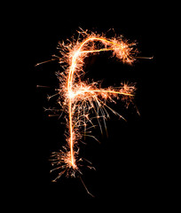 Letter F. Real sparkler alphabet