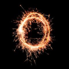 Letter O. Real sparkler alphabet