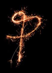 Letter P. Real sparkler alphabet