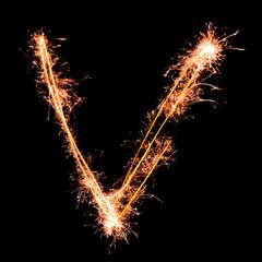 Letter V. Real sparkler alphabet
