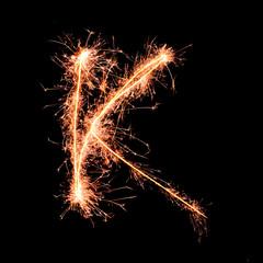 Letter K. Real sparkler alphabet