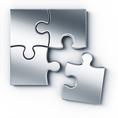 Metal puzzle pieces