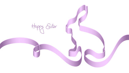 """Purple Ribbon Easter Bunny """"Happy Easter"""""""