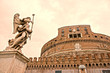 Castel Sant'angelo and Bernini's statue at sunset, Rome, Italy.