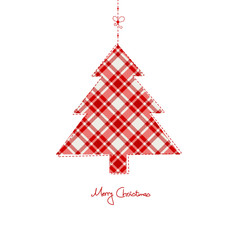 Hanging Xmas Tree Checked Pattern Red