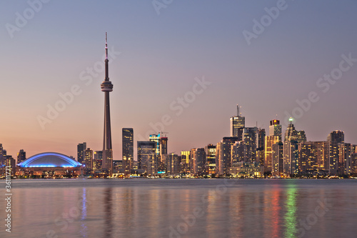 Toronto night skyline CN Tower downtown skyscrapers sunset Canad Poster