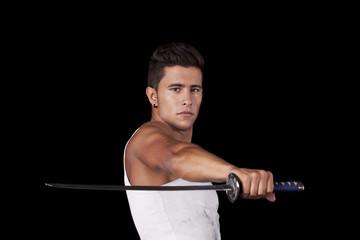 Warrior with ninja swords