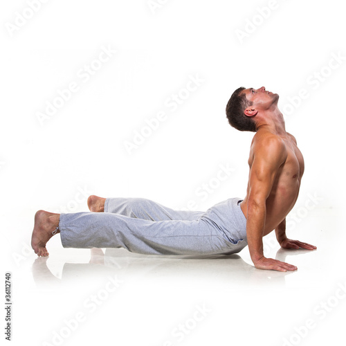 Man is making yoga