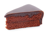 Piece of chocolate cake full with apricot jam