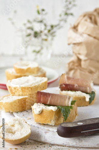 Ham sandwich with mayonaise and parsley