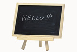 Hello handwriting on notice board poster