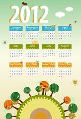 Calendar 2012 environmental retro planet with trees,birds,flower