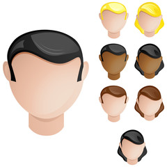 People Heads Male and Female. Set of 4 hair and skin colors