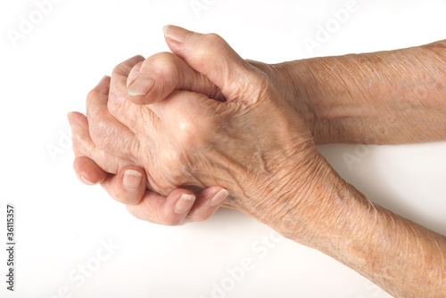 Old Lady's hands clasped