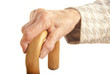 Old Lady's hand with walking stick