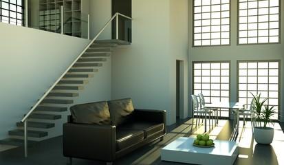 Wohndesign - Loft mit Ledersofa