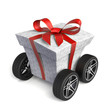 Gift box with wheels