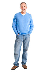 Full length mature man isolated on white