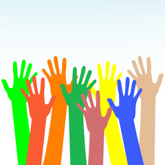 happy hands multicolored vector on blue background