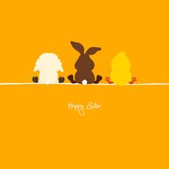 Easter Bunny, Lamb & Chick Orange