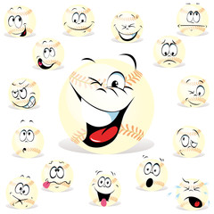 baseball cartoon wit many expressions