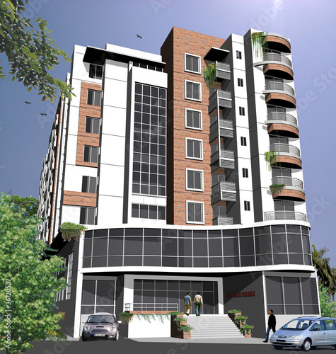 similar design 3d elevation view of residential buildings Car Pictures