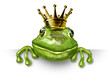 canvas print picture - Frog prince with small gold crown