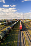 Sorting station with freight trains in sunny day