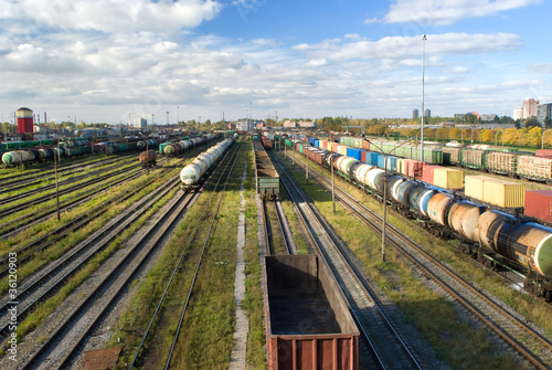 Sorting station with freight trains in summer sunny day