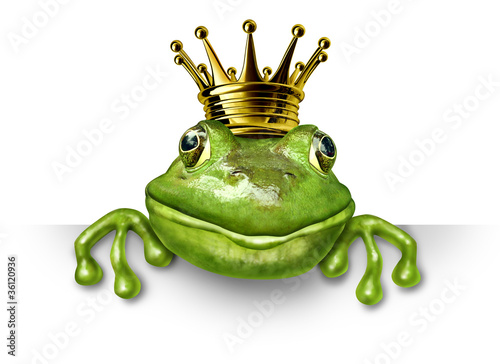 canvas print picture Frog prince with small gold crown