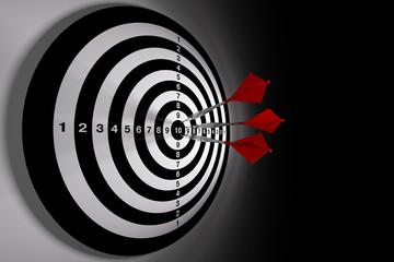 Darts hitting a target