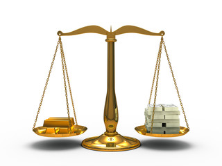 Gold and money balance on the scales