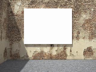Blank advertising billboard on wall