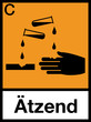 Gefahrstoffzeichen Ätzend Säure Schild Etiketten Symbol