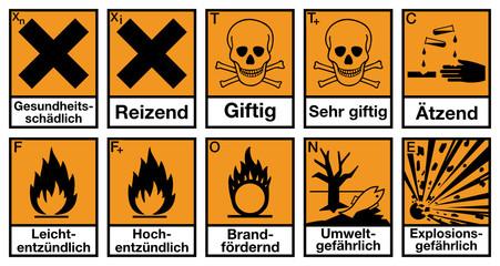 Gefahrstoffzeichen Set Deutsch Etiketten Gefahrgut