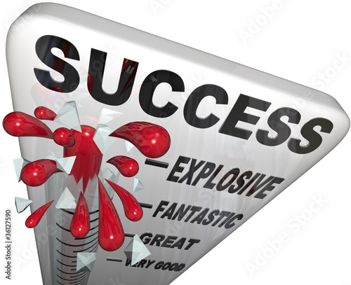 Success Thermometer Measuring Progress to Successful Goal