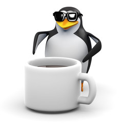 3d Penguin and giant coffee cup