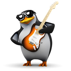 3d Penguin guitar rock god